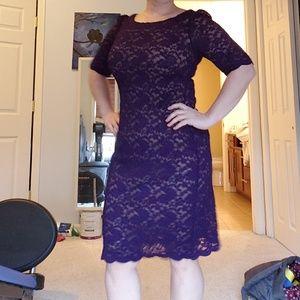 Beautiful purple lace knee-length dress